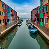 Burano houses and canal, Venice