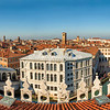 Panoramic view of Grand Canal and Venice from the rooftop terrace of The Fondaco dei Tedeschi