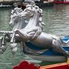A pair of silver horses on the bow of a gondola, Festa Veneziana, Venice