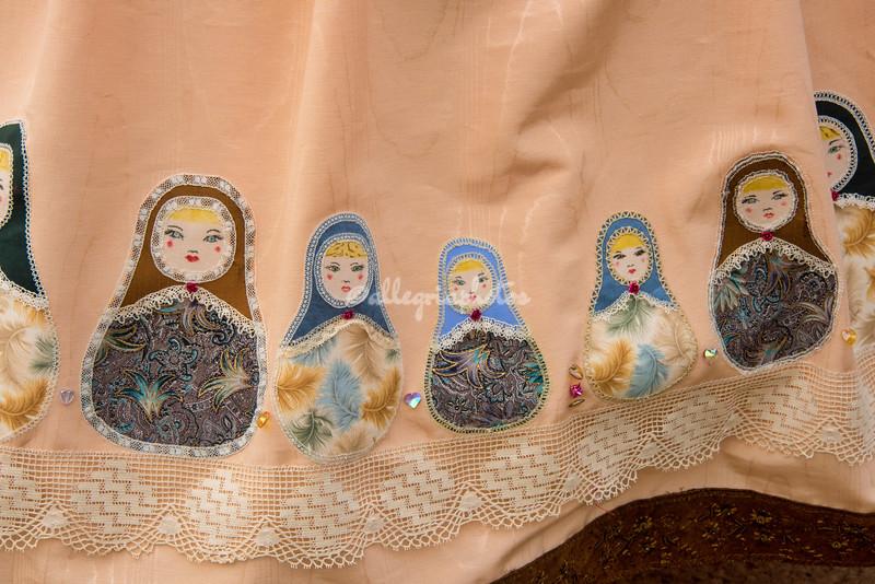 Detail of Russian dolls on skirt,