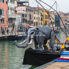 An Elephant puppet on the bow of a barge, Festa Veneziana, Venice