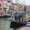 An Elephant puppet on the bow of a barge, Festa Veneziana, Venice