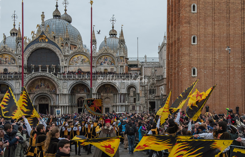 The procession of the Twelve Marias arrives in Piazza San Marco, Venice