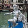 A silver figure on the bow of a gondola, Festa Veneziana, Venice