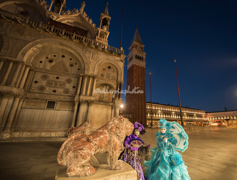 Eve and Arlette on Piazza San Marco at dawn