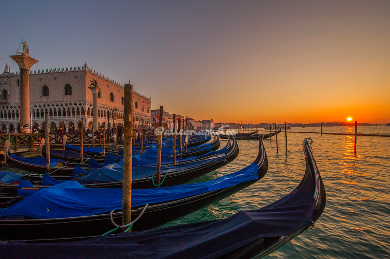 View along the line of Gondolas, Piazza san Marco, Venice,  at sunrise