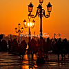 Sunlit lamps at sunrise, Venice