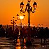 Sunlit lamps at sunrise, Venice