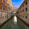 The Bridge of Sighs linking the Doge's Palace on the left to the Doge's Prison on the right.