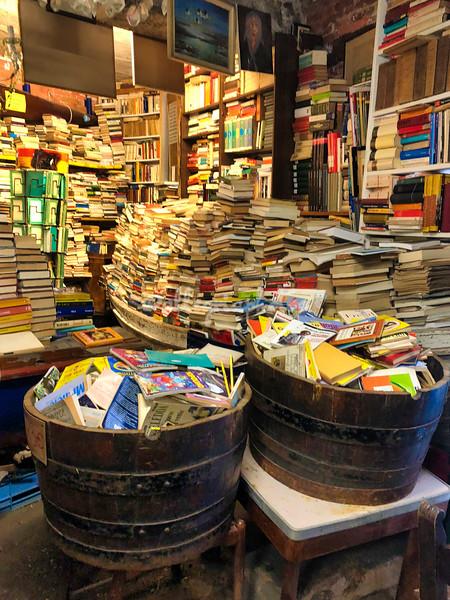 Inside the Acqua Alta bookshop, Venice