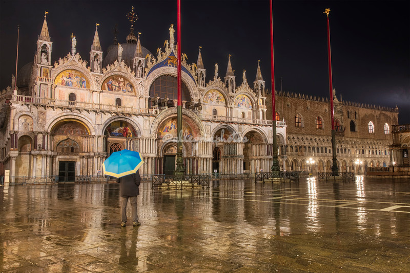 A very rainy moment of reflection in the early morning, Piazza San Marco, Venice