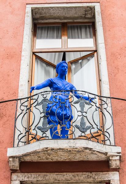 A dummy model on a balcony, Carnevale, Venice