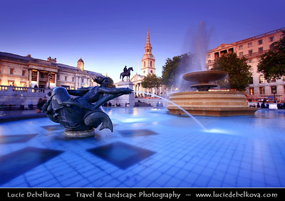 Europe - UK - England - London - National Gallery at Trafalgar Square at Dusk - Twilight - Blue Hour