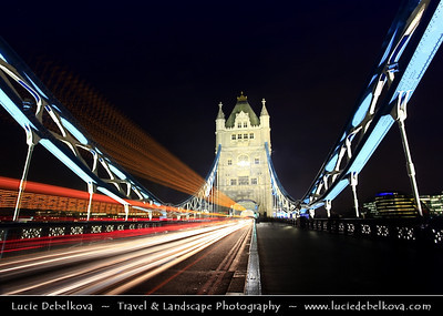 Europe - UK - England - London - Traffic on the Tower Bridge over River Thames at Dusk - Twilight - Blue Hour - Night
