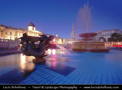 Europe - UK - England - London - National Gallery at Trafalgar Square at Dusk - Twilight - Blue Hour