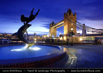 UK - England - London - Tower Bridge and the Dolphin Fountain at Dusk - Twilight - Blue Hour