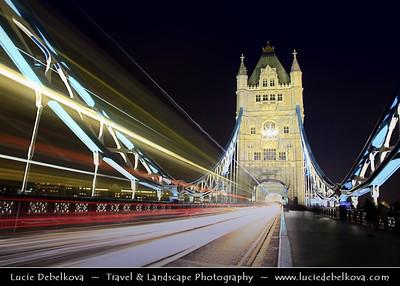 Europe - UK - England - London - Traffic on the Tower Bridge over River Thames at Dusk - Twilight - Blue Hour - Night