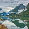 A canoe on Fjaerland Fjord, Norway
