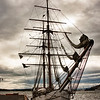 Three-masted ship, Oslo harbor, Norway