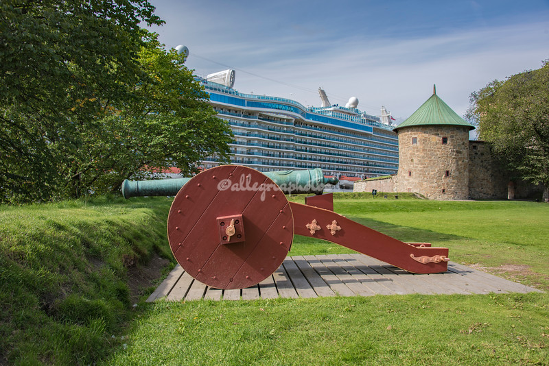 A large cruise ship adjacent to Akershus Fortress, Oslo, Norway,