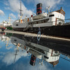 MS Rogaland and reflection in polished stone, Stavanger, Norway