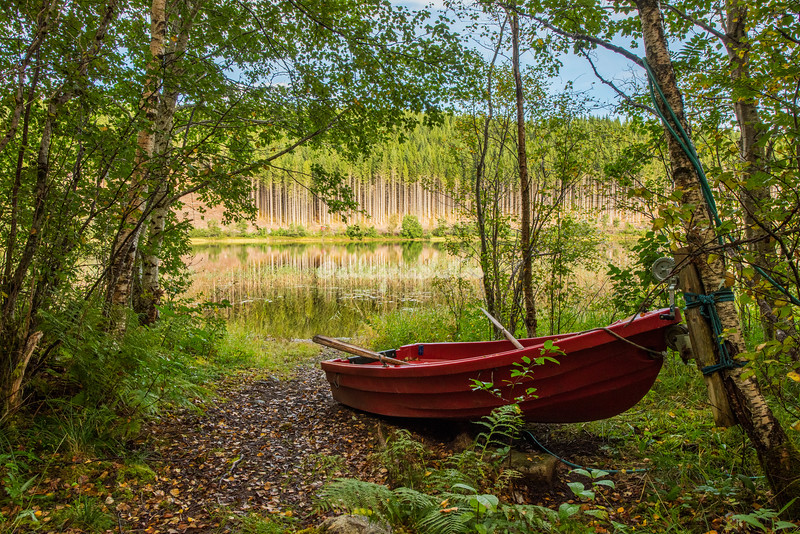 A rowing boat by a lake near Trondheim, Norway