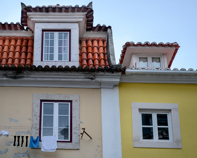 Clothes drying outside house, Bairro Alto, Lisbon, Portugal