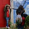 Two women talking to each other, Miradouro De Santa Luzia, Sano Miguel, Lisbon, Lisboa Region, Portugal