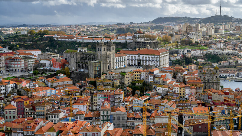 Aerial view of buildings in a city, Vitoria, Porto, Portugal