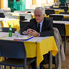 Elderly man sitting in restaurant, Cafe Martinho Da Arcada, Madalena, Lisbon, Portugal
