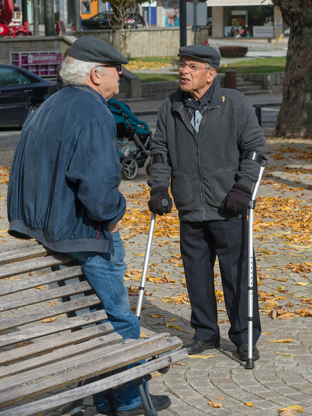 Two elderly men talking to each other in park, Lamego Municipality, Viseu District, Northern Portugal, Portugal