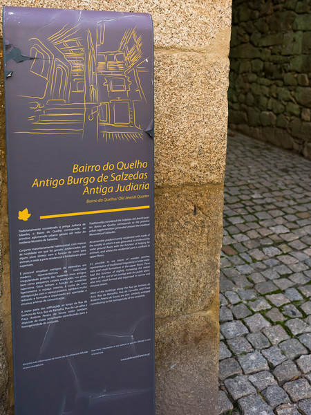 Close-up of bilingual information poster, Old Jewish Quarter, Old Jewish Quarter, Salzedas, Douro Valley, Portugal