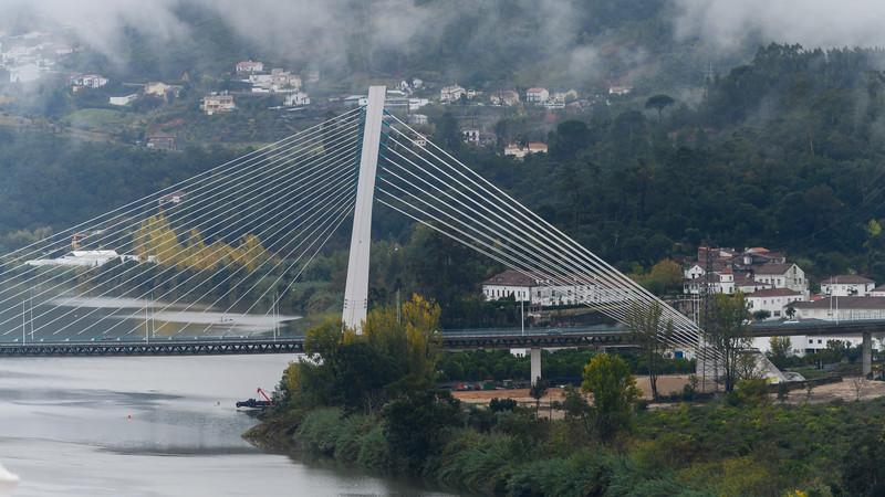 Cable-Stayed bridge across Mondego River, Ponte Rainha Santa Isabel, Combra, Coimbra District, Portugal