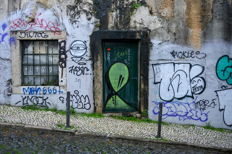 Painted wall of a building, Bairro Alto, Lisbon, Portugal
