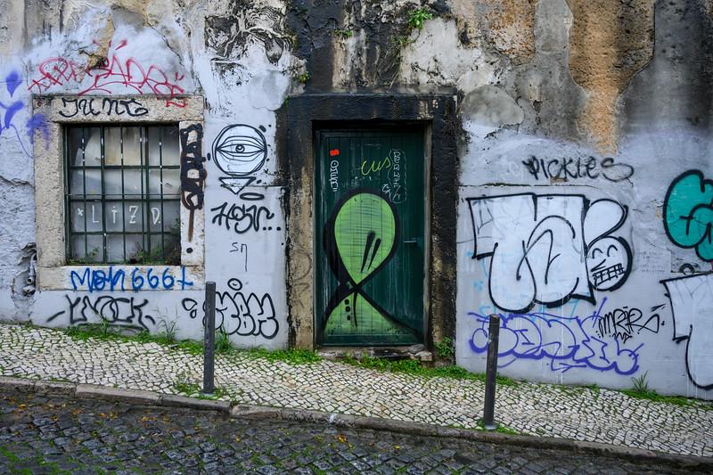 Painted wall of a building, Bairro Alto, Lisbon, Portugal