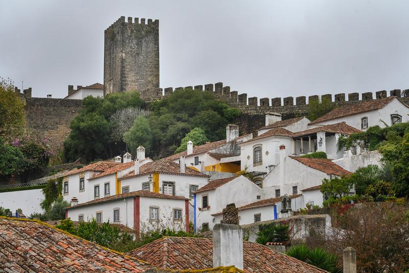Houses in a town, Obidos, Leiria District, Portugal