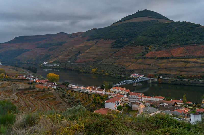 Town along riverbank, Douro River, Douro Valley, Portugal