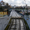 Railroad tracks with cityscape in the background, Se do Porto, Porto, Northern Portugal, Portugal