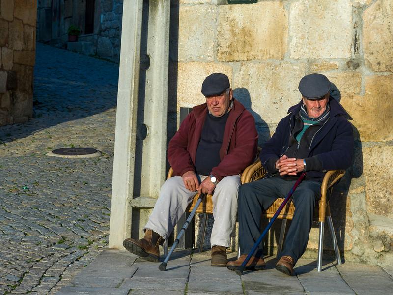 Elderly men sitting on chairs, Salzedas, Tarouca, Douro Valley, Viseu District, Portugal