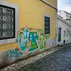 Houses on a narrow street, Bairro Alto, Lisbon, Portugal