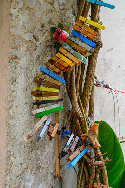 Close-up of colorful clothespins on a vine, Alfama, Sao Miguel, Lisbon, Portugal