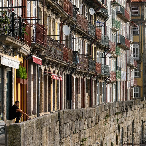 Front view of Houses in a row, Sao Nicolau, Porto, Portugal
