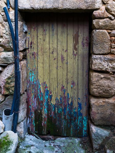 Closed door of damaged building, Old Jewish Quarter, Salzedas, Douro Valley, Portugal
