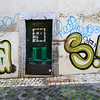 Public art painted on houses, Bairro Alto, Lisbon, Portugal