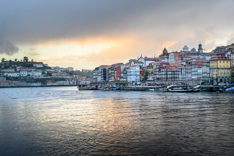 Douro River with Porto Cathedral in the background, Santa Marinha, Porto, Northern Portugal, Portugal