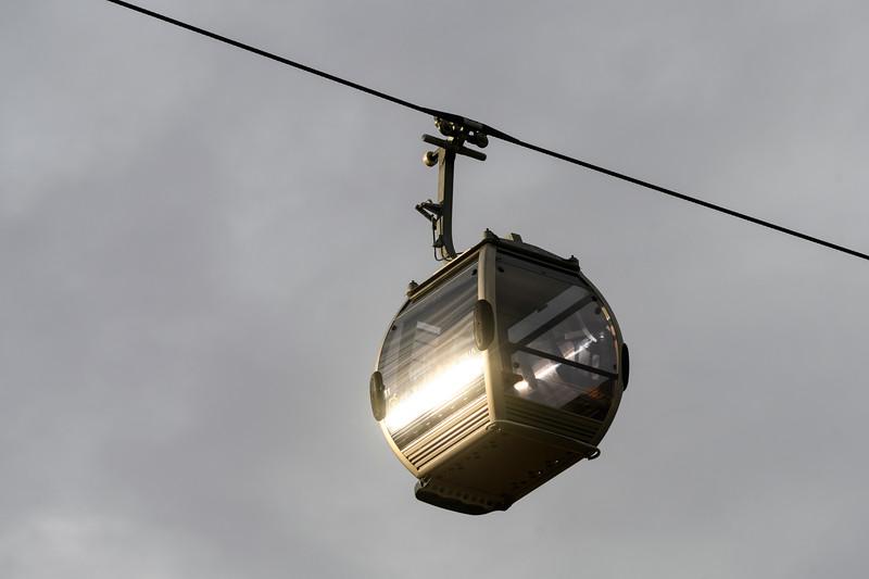 Low angle view of overhead cable car, Santa Marinha, Ribeira De Pena, Porto, Portugal
