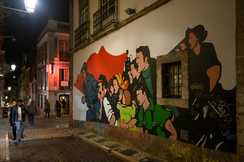 Public Artwork on wall, Encarnacao, Lisbon, Portugal