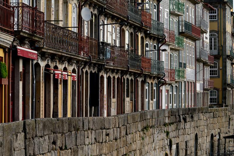 Houses in a row, Sao Nicolau, Porto, Portugal