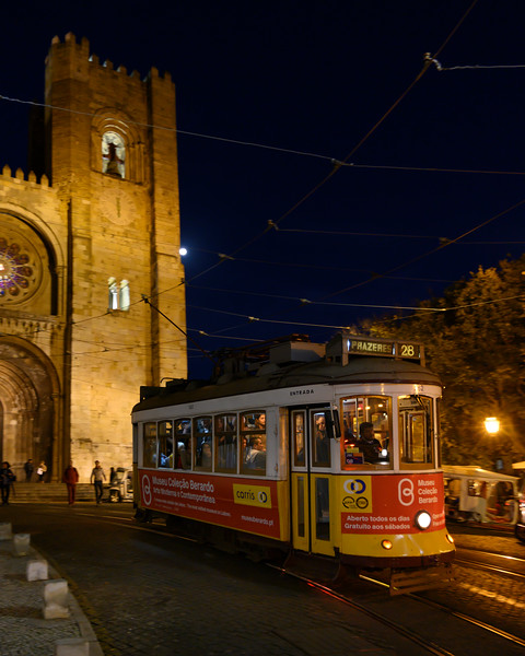 Cable car at night, Lisbon Cathedral, Lisbon, Portugal
