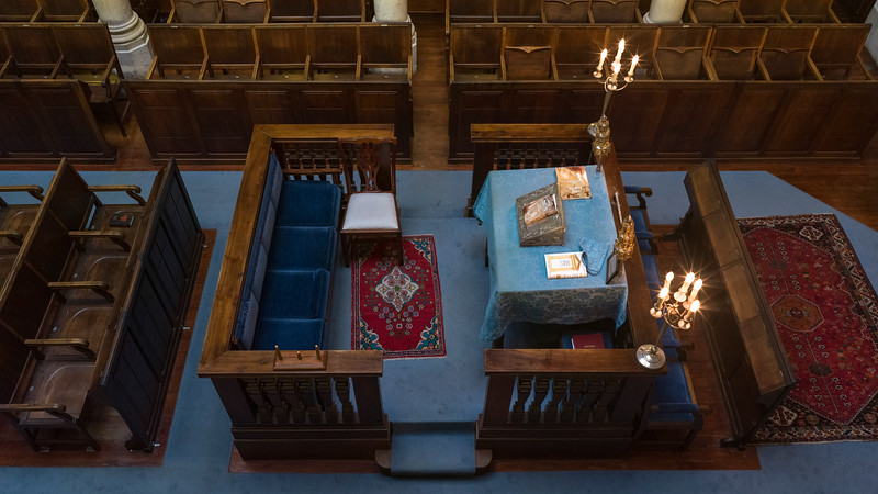 High angle view of Bimah (Reading Desk) in synagogue, Lisbon Synagogue, Gates of Hope, Lisbon, Portugal